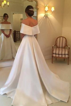 Off The Shoulder Long Satin Wedding Dresses, Elegant A Line Bridal Dress P0361