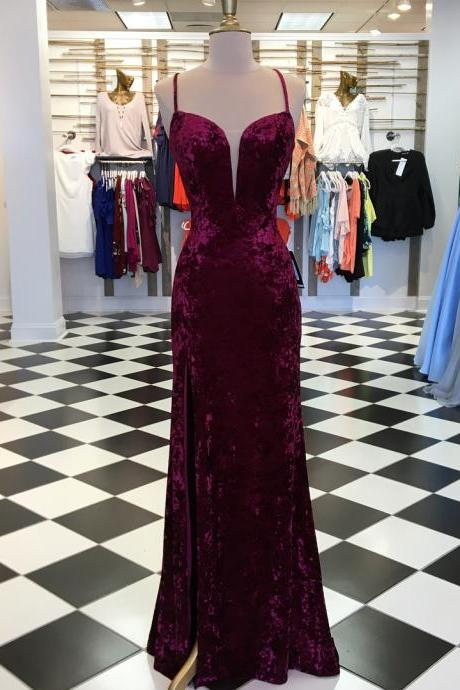Elegant Burgundy Velvet Mermaid Long Prom Dress with Slit,Prom Dresses,Evening Dress, Prom Gowns, Formal Women Dress,prom dress P0661