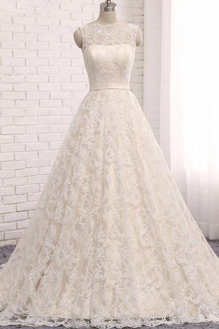Custom made A line lace tulle long prom dress, wedding dress P1085