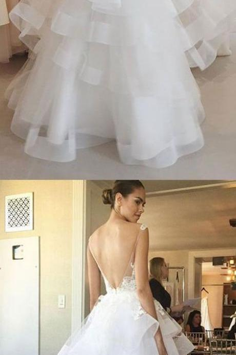 Charming Wedding Dress, Open Back Appliques Tulle Wedding Dress, Sexy Bridal Dresses P1214