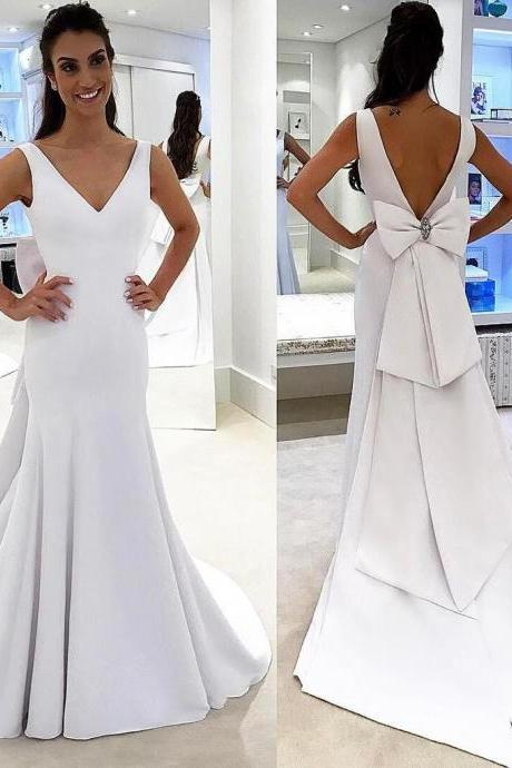 Elegant White V Neck Formal Dress,Open Back Sheath Wedding Dress With Bow P1402