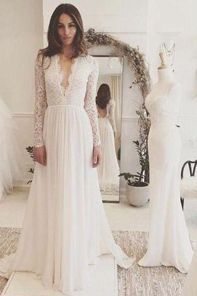 Sexy Chiffon Long Sleeve Wedding Dress,Lace V-neck Sweep Train Bridal Gown P1409