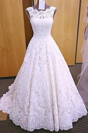 2018 Elegant A Line Lace Wedding Dress, Sleeveless Open Back Wedding Dresses, Bridal Dresses P1446