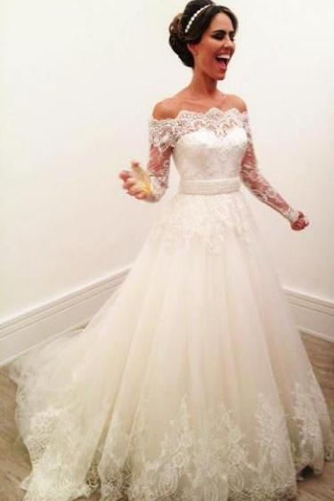 Long Sleeve Lace Wedding Dress, Elegant Tulle Wedding Gowns with Appliques, Formal Bridal Dresses P1455