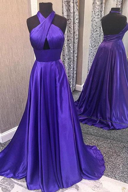 Satin Tie-Halter Floor Length A-Line Formal Dress Featuring Cutout Front and Open Back, Prom Dress