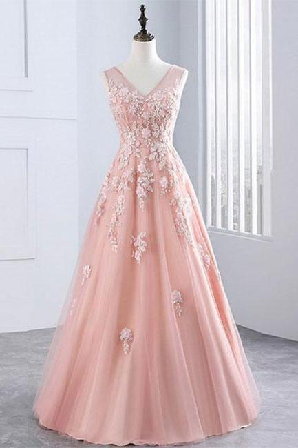 Pink v neck tulle lace long prom dress, pink evening dress P1503