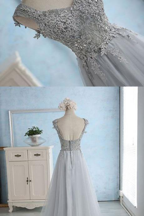 Gray Blue Long Prom Dresses with Appliques P1505