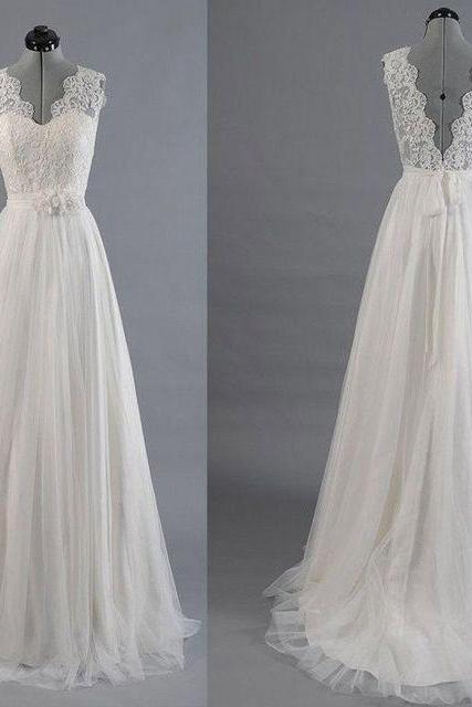 Charming V Neck V Back Long Wedding Dresses with Sash P1508