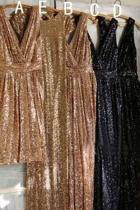 Short/Long Champagne Gold/Dark Navy Bridesmaid Dresses P1510