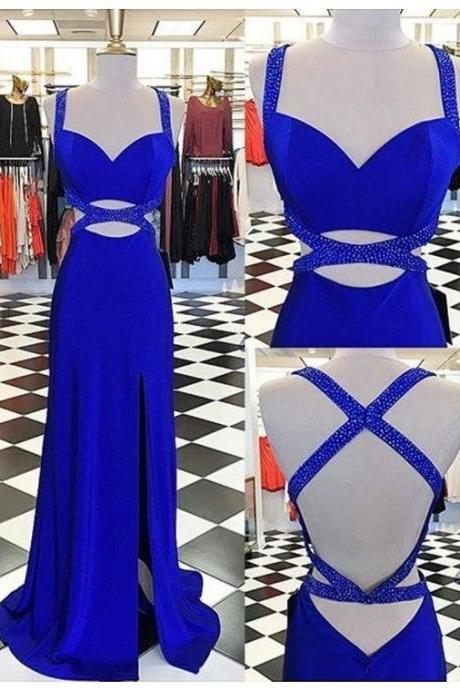 Elegant Royal Blue Long Prom Dresses with Beaded P1514