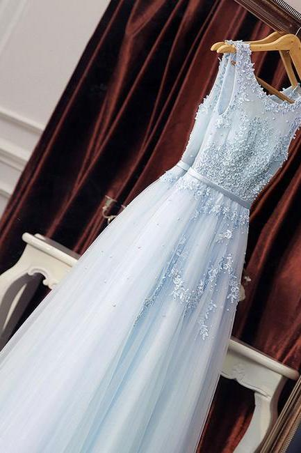 Elegant Light Sky Blue Tulle Long Prom Dresses with Appliques for Women P1520