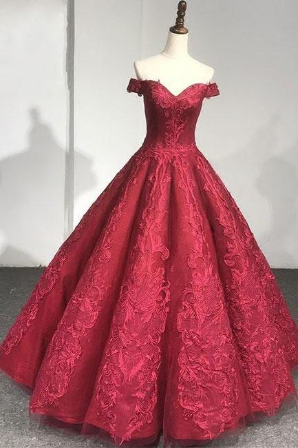 Burgundy lace off shoulder long prom dress, evening dress P1577