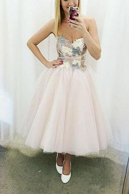 Cute sweetheart neck lace tulle short prom dress, homecoming dress P1578