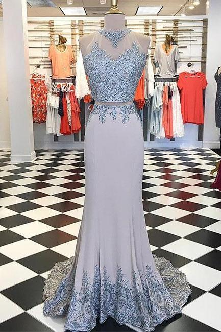 Unique gray lace applique long prom dress, evening dress P1580