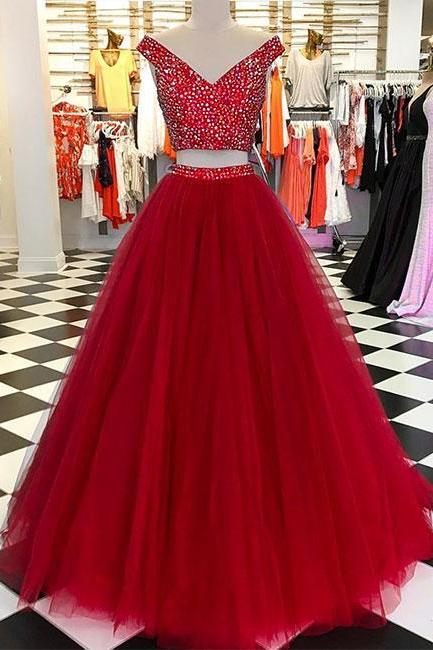 Burgundy v neck tulle beads long prom dress, burgundy evening dress P1581