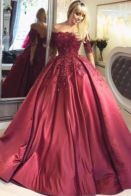 Burgundy lace long prom gown, long sleeve evening dress P1584