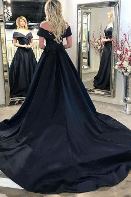 Black v neck long prom dress, black evening dress P1585