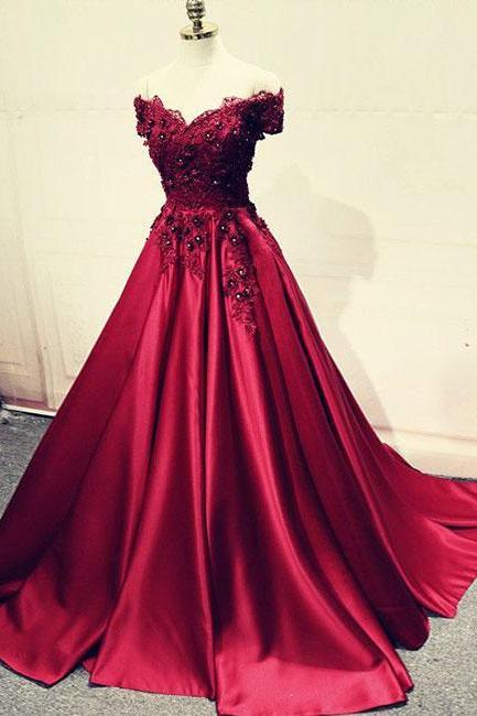 Burgundy lace off shoulder long prom dress, lace evening dress P1586