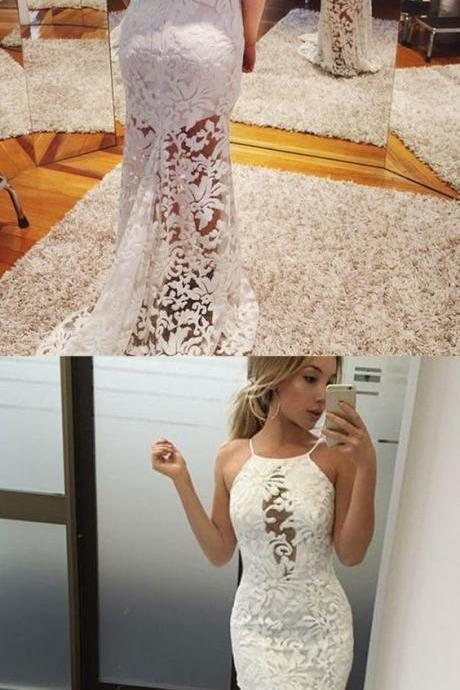 Mermaid Halter Backless Sweep Train White Lace Prom Dress P1783