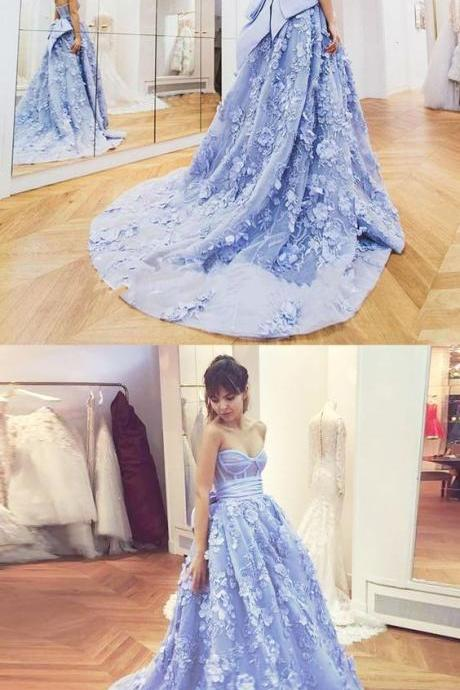 A-Line Sweetheart Sweep Train Lavender Tulle Prom Dress with Flowers Bowknot P1785