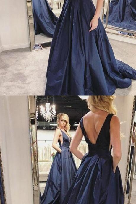 A-Line Deep V-Neck Backless Sweep Train Navy Blue Prom Dress with Pockets P1789