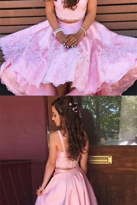 Two Piece Straps High Low Pink Satin Prom Dress with Appliques P1790