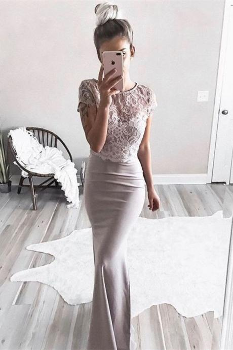 Two Piece Round Neck Short Sleeves Champagne Prom Dress with Lace P1791