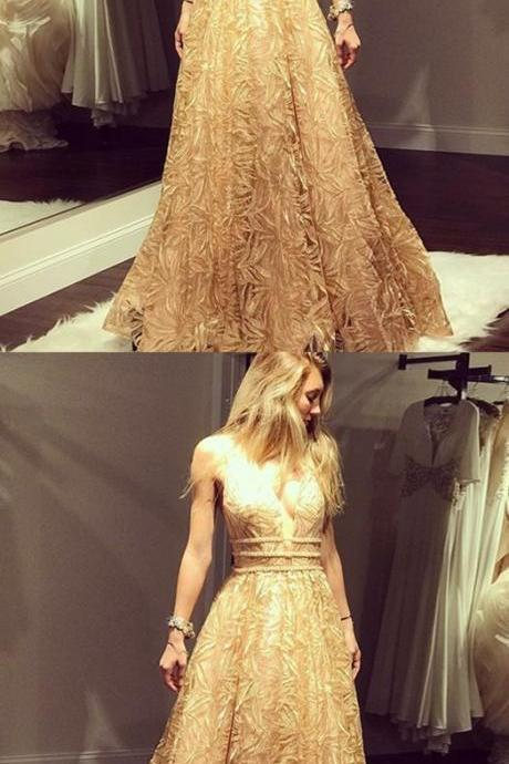 A-Line Deep V-Neck Floor-Length Champagne Lace Prom Dress with Beading P1792