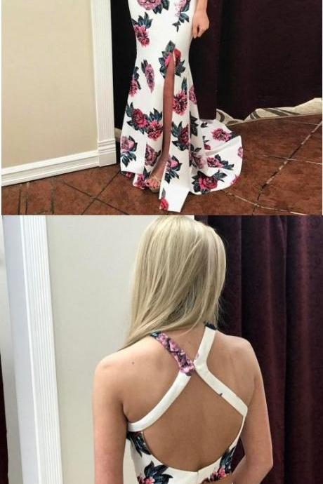 Two Piece Halter Open Back Sweep Train Ivory Printed Prom Dress with Keyhole P1795
