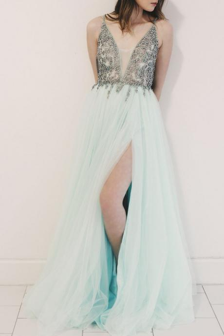 Spaghetti Straps V-Neck Beaded Long Prom Dress,A-Line Green Evening Dress P1802