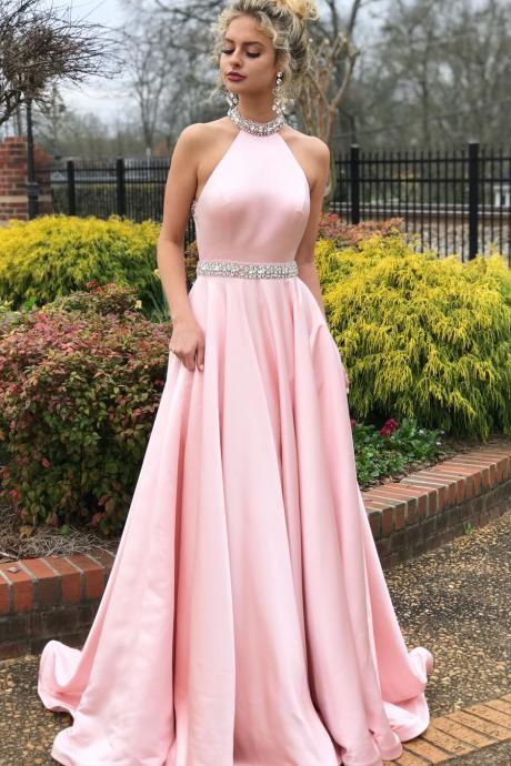 Charming High Neck Pink Beaded Long Prom Dress,Open Back Evening Dresses P1803