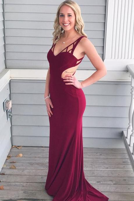 Sexy V Neck Wine Red Mermaid Long Prom Dress,2018 Formal Dress P1805