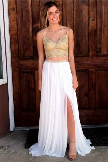 White Two Piece Long Prom Dress with Side Slit,Gold Applique Spaghetti Straps Evening Dresses P1806