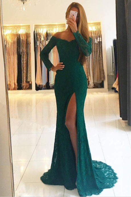 Mermaid Off-the-Shoulder Long Sleeves Dark Green Lace Prom Dress with Split P1807