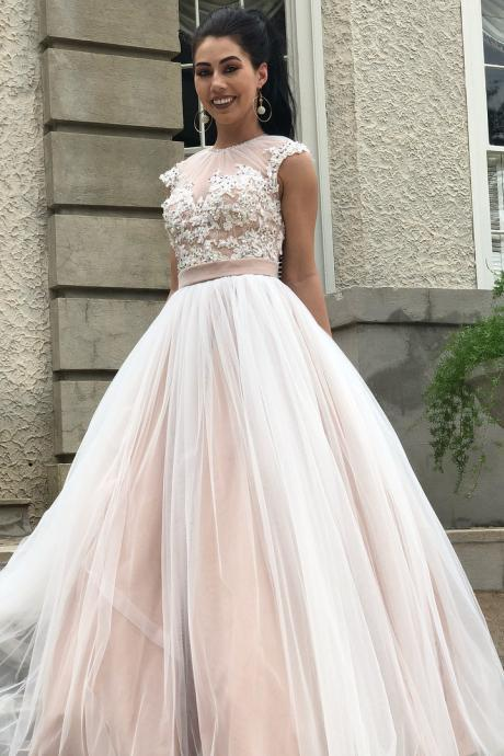 A-line Champagne Tulle Long Prom Dress,Applique Cap Sleeve Evening Dresses P1811