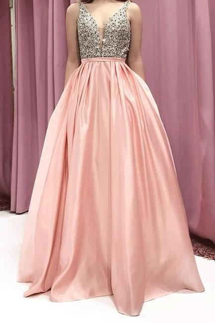 Pink V-Neck Satin Long Prom Dress,Beaded Straps Evening Dress P1816