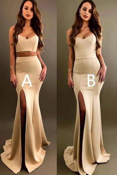Sexy Mermaid Long Prom Dress,Strapless Champagne Evening Dress P1821