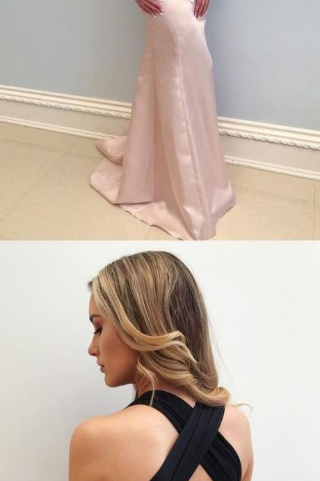Mermaid Deep V-Neck Pearl Pink Sweep Train Convertible Prom Dress, modest pearl pink v neck mermaid prom dresses, simple criss cross straps evening dresses P2486