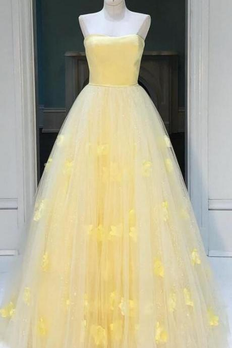 Princess Strapless A-line Daffodil Long Prom Dress P2872