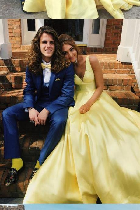 yellow long prom dress, 2018 prom dress, party dress, elegant v neck yellow long prom dress party dress P3064