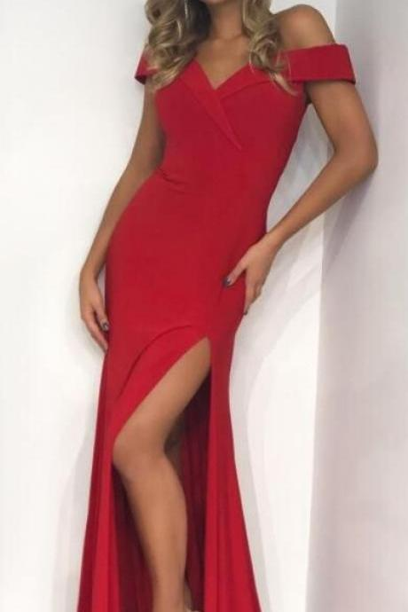 gorgeous off the shoulder red mermaid long prom dress, 2018 prom dress, red prom dress with side slits, party dress formal evening dress P3146