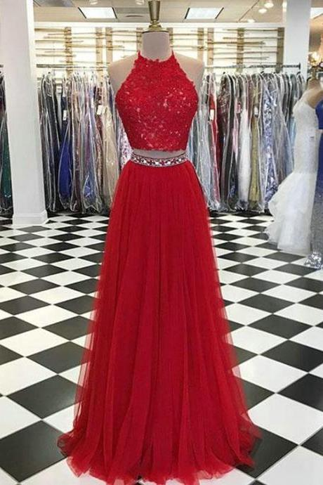 Red Lace Tulle Prom Dresses with Appliques Beaded Long Two Piece Prom Party Gowns