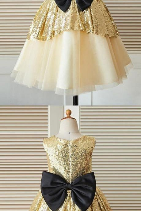 sparkle flower girl dresses, chic fashion wedding party dresses with bow for baby girl