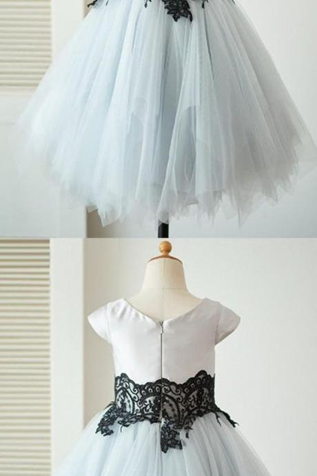 cute sliver flower girl dresses, sweet wedding party gowns with black appliques, fashion cap sleeves gowns for baby girl