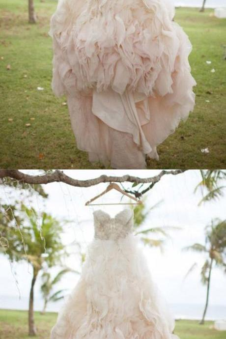 Modern Sweetheart Tulle Ruffles Bride Dress, Beading Pink Wedding Dress