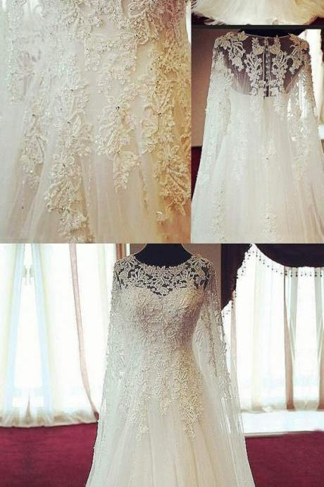 Gorgeous Scoop Long Sleeves Bridal Dress, Appliques Wedding Dresses Bride Gowns