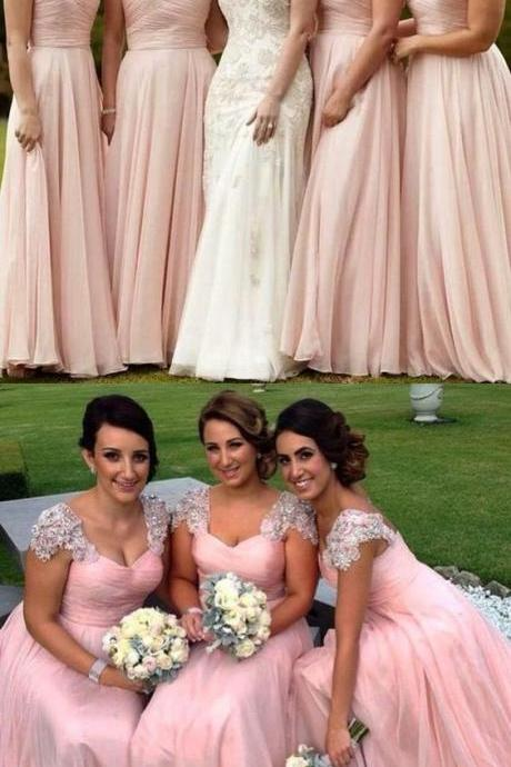 elegant Scoop Cap Sleeves wedding party dresses, Floor-Length Pink classic Bridesmaid Dress, fashion prom dresses with Beading Pleats