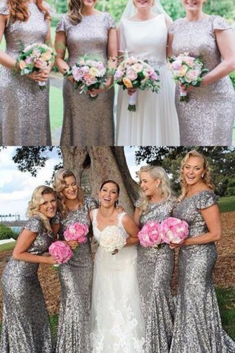 Mermaid Crew prom Dresses, Short Sleeves Sweep Train bridesmaid dresses, Silver Sequined wedding party Dress