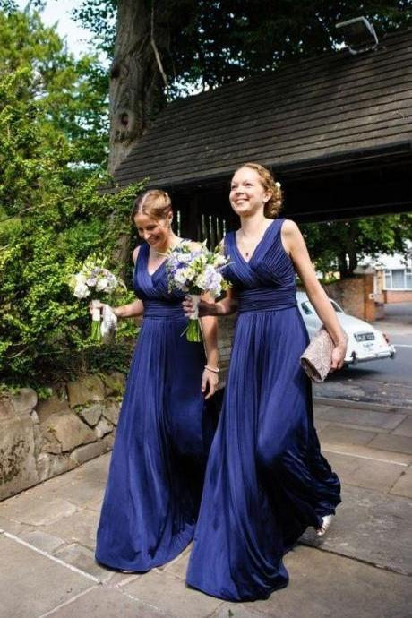 elegant dark blue bridesmaid dress with pleats, fashion v-neck wedding party dress with ruched