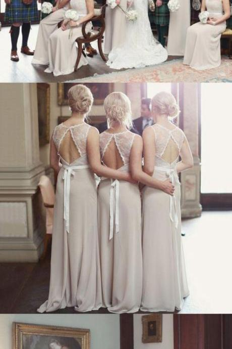 elegant champagne bridesmaid dress with sash, fashion wedding party dress with lace appliques